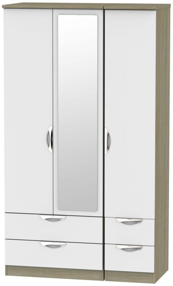 Camden 3 Door 4 Drawer Tall Combi Wardrobe - Grey and Darkolino