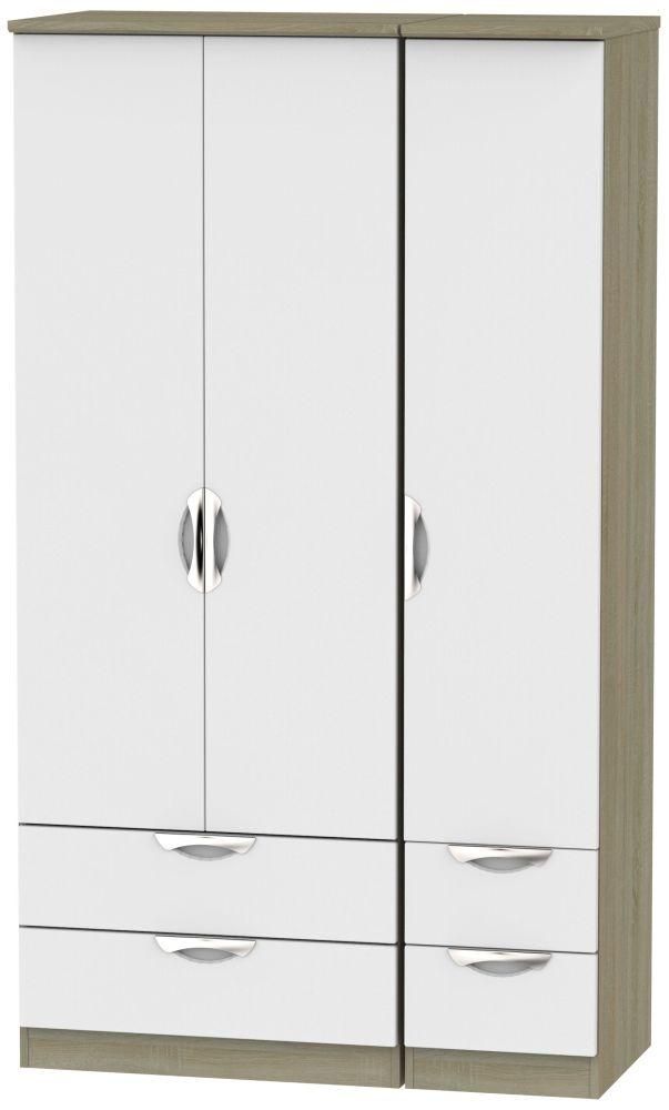 Camden 3 Door 4 Drawer Tall Wardrobe - Grey and Darkolino