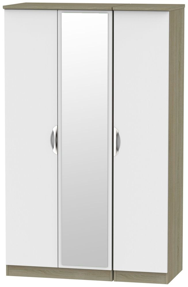 Camden 3 Door Mirror Wardrobe - Grey and Darkolino