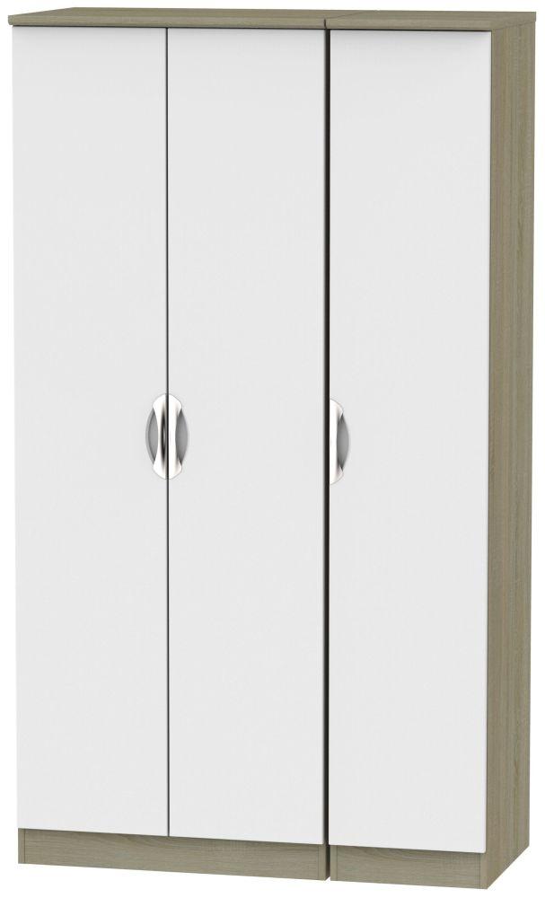 Camden 3 Door Tall Wardrobe - Grey and Darkolino