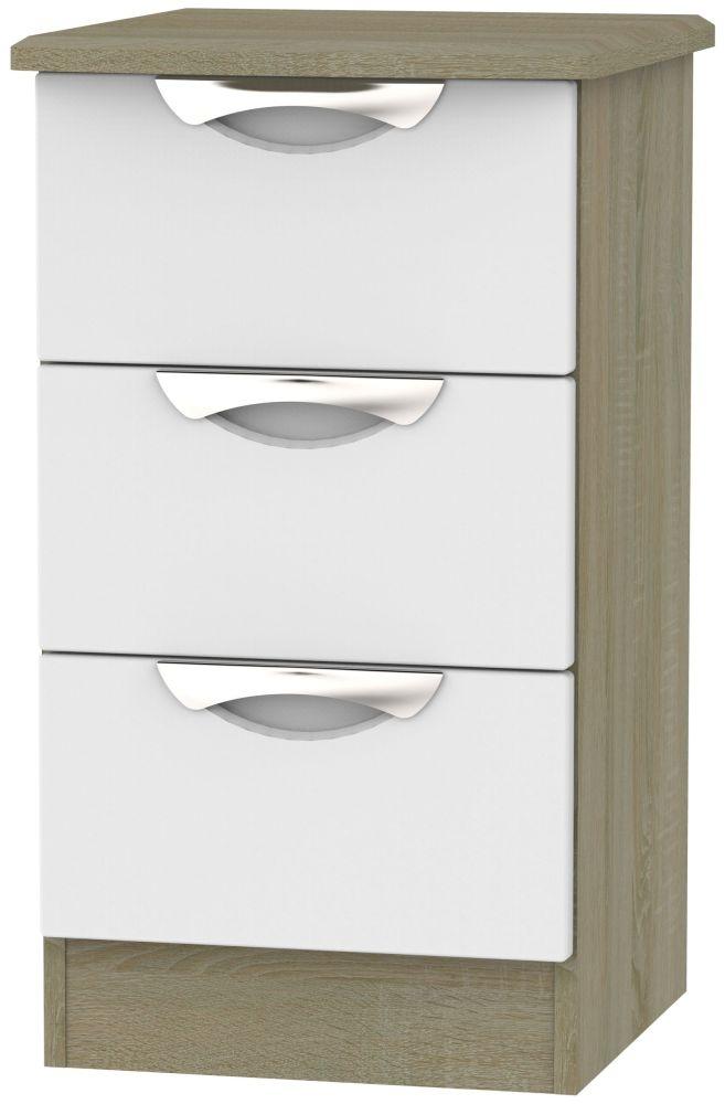 Camden 3 Drawer Bedside Cabinet - Grey and Darkolino