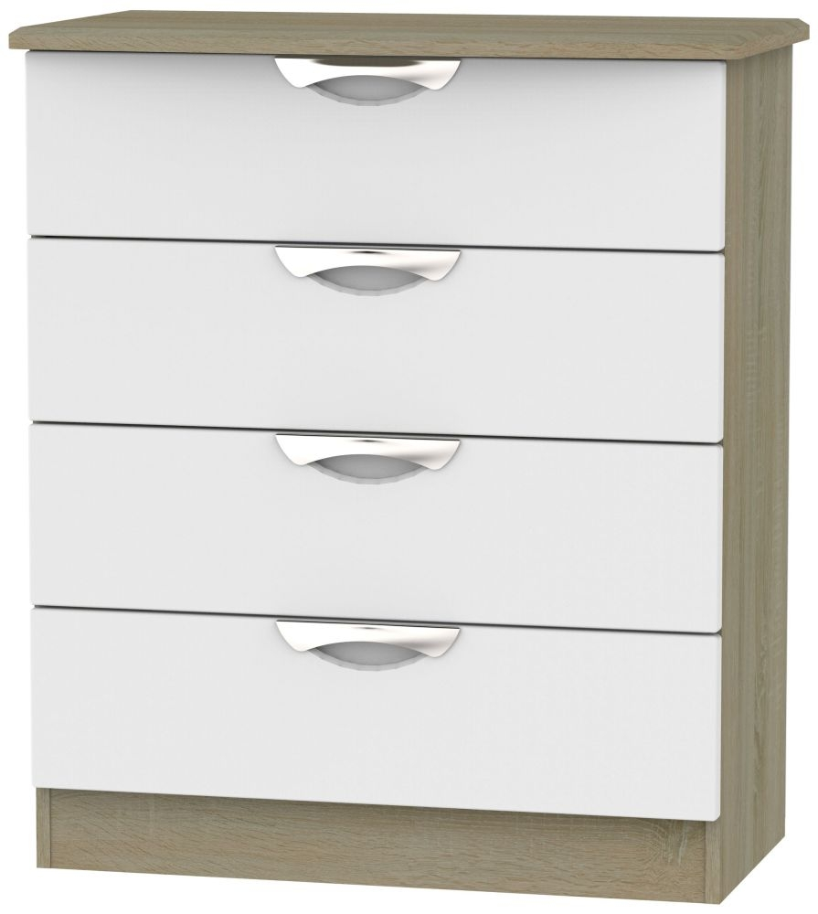 Camden 4 Drawer Chest - Grey and Darkolino