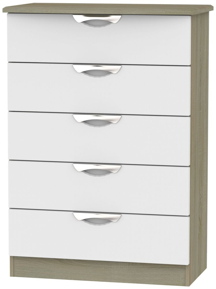 Camden 5 Drawer Chest - Grey and Darkolino