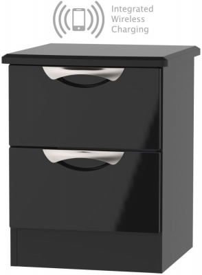 Camden High Gloss Black 2 Drawer Bedside Cabinet with Integrated Wireless Charging
