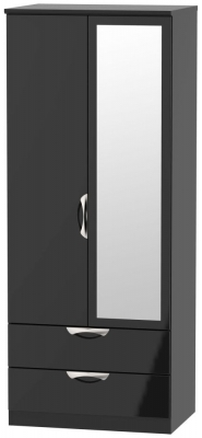 Camden High Gloss Black 2 Door Mirror Combi Wardrobe