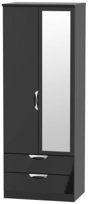 Camden High Gloss Black 2 Door Tall Mirror Combi Wardrobe