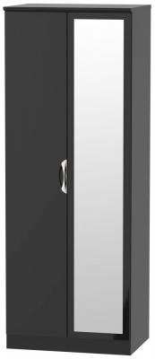 Camden High Gloss Black 2 Door Tall Mirror Wardrobe