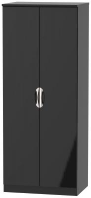 Camden High Gloss Black 2 Door Wardrobe