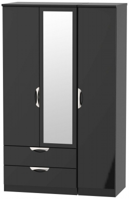 Camden High Gloss Black 3 Door 2 Left Drawer Mirror Wardrobe