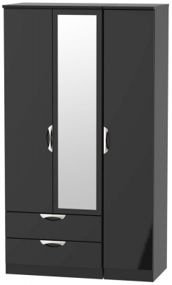 Camden High Gloss Black 3 Door 2 Left Drawer Tall Combi Wardrobe