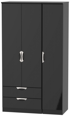 Camden High Gloss Black 3 Door 2 Left Drawer Tall Wardrobe