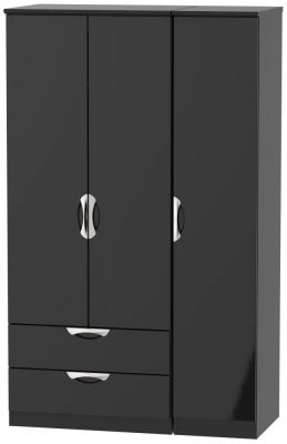 Camden High Gloss Black 3 Door 2 Left Drawer Wardrobe