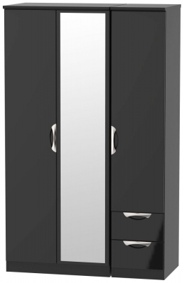 Camden High Gloss Black 3 Door 2 Right Drawer Mirror Wardrobe