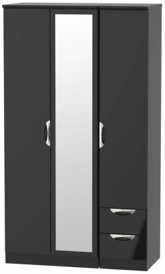 Camden High Gloss Black 3 Door 2 Right Drawer Tall Combi Wardrobe