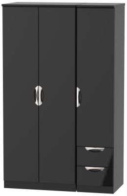 Camden High Gloss Black 3 Door 2 Right Drawer Wardrobe