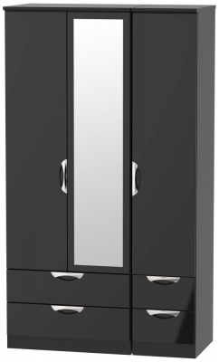 Camden High Gloss Black 3 Door 4 Drawer Tall Combi Wardrobe