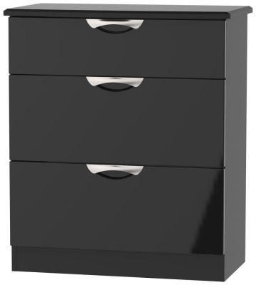 Camden High Gloss Black 3 Drawer Deep Chest