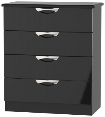 Camden High Gloss Black 4 Drawer Chest
