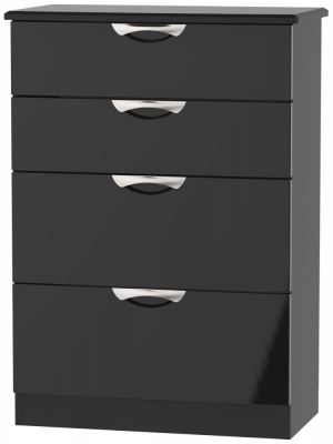 Camden High Gloss Black 4 Drawer Deep Chest