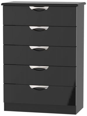 Camden High Gloss Black 5 Drawer Chest