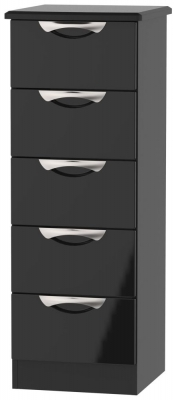 Camden High Gloss Black 5 Drawer Tall Chest
