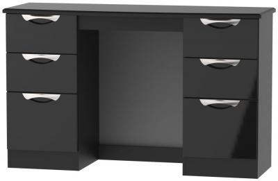 Camden High Gloss Black Double Pedestal Dressing Table