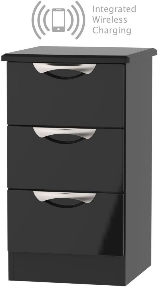 Camden High Gloss Black 3 Drawer Bedside Cabinet with Integrated Wireless Charging