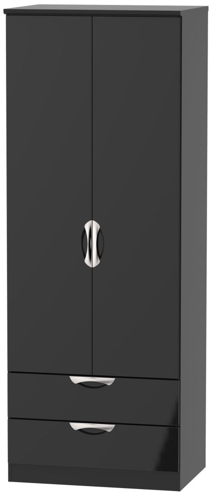 Camden High Gloss Black 2 Door 2 Drawer Tall Wardrobe