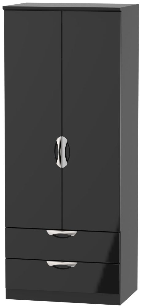 Camden High Gloss Black 2 Door 2 Drawer Wardrobe