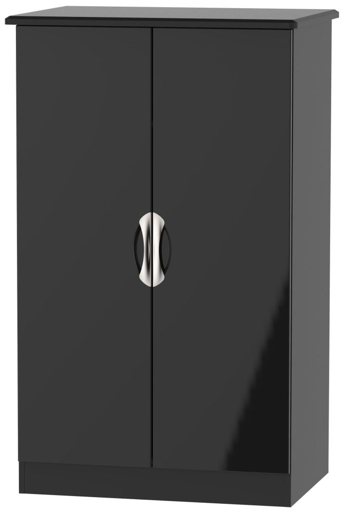 Camden High Gloss Black 2 Door Midi Wardrobe