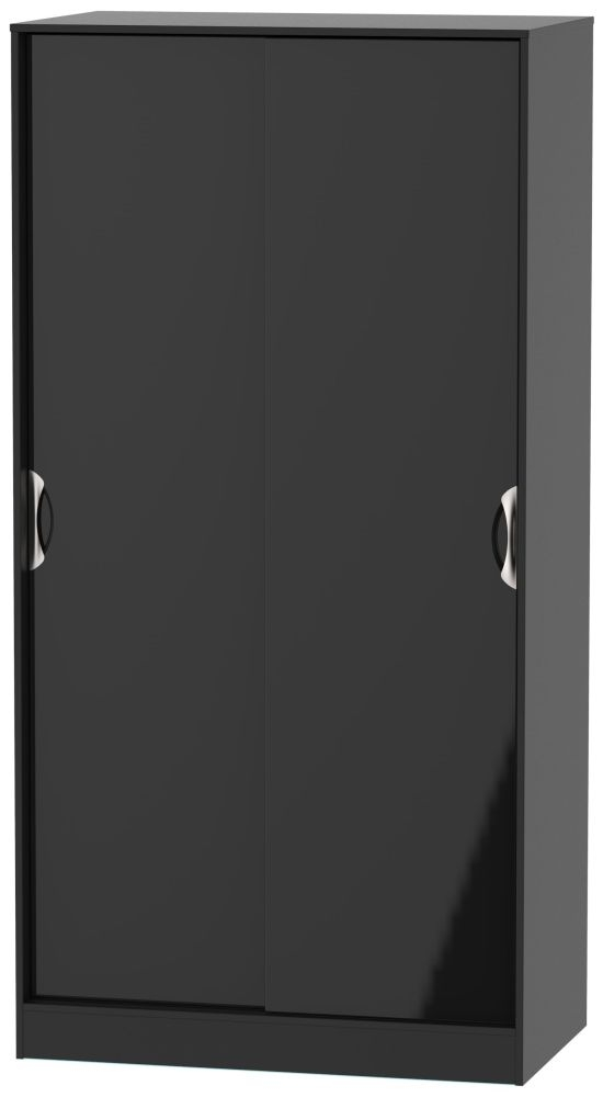 Camden High Gloss Black 2 Door Sliding Wardrobe