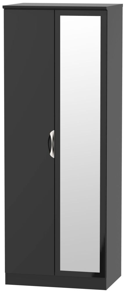 Camden High Gloss Black 2 Door Tall Mirror Wardrobe