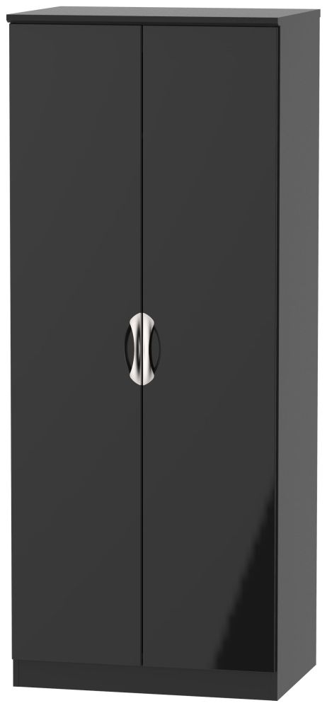 Camden High Gloss Black 2 Door Wardrobe