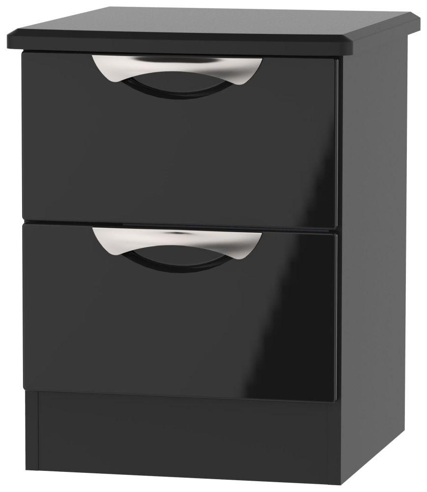 Camden High Gloss Black 2 Drawer Bedside Cabinet