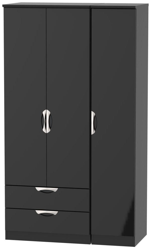 Camden High Gloss Black 3 Door 2 Left Drawer Tall Wardrobe