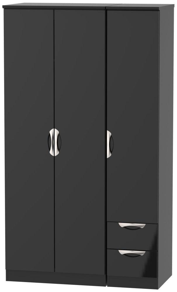 Camden High Gloss Black 3 Door 2 Right Drawer Tall Wardrobe