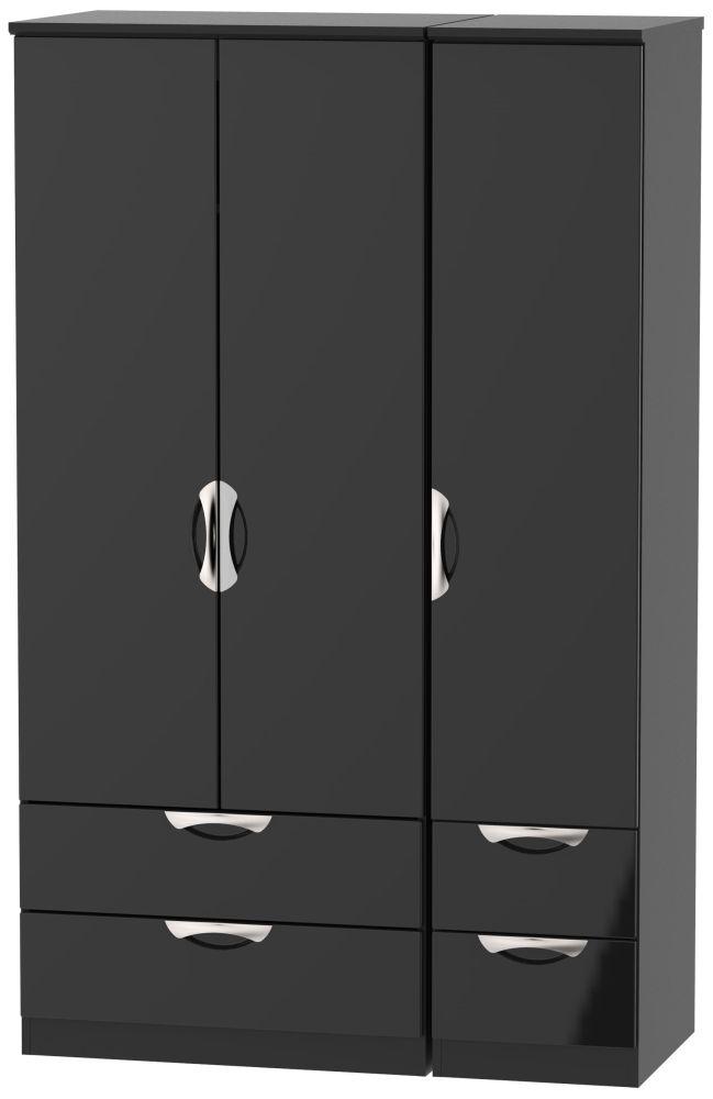 Camden High Gloss Black 3 Door 4 Drawer Wardrobe