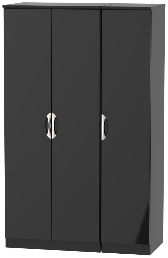 Camden High Gloss Black 3 Door Wardrobe