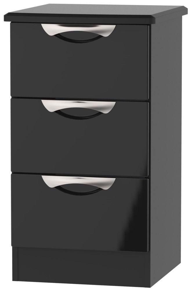 Camden High Gloss Black 3 Drawer Bedside Cabinet