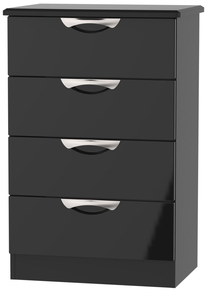 Camden High Gloss Black 4 Drawer Midi Chest
