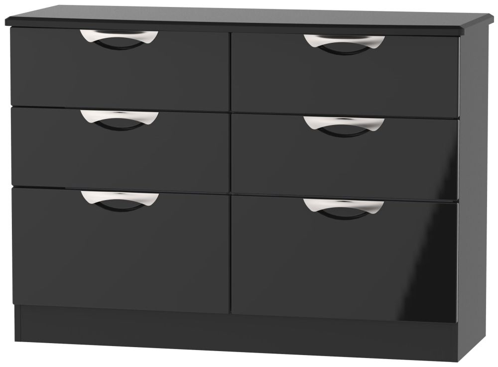 Camden High Gloss Black 6 Drawer Midi Chest