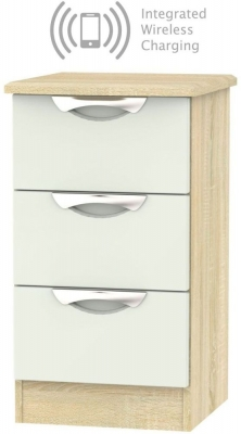 Camden 3 Drawer Bedside Cabinet with Integrated Wireless Charging - High Gloss Kaschmir and Bardolino