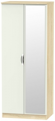 Camden 2 Door Mirror Wardrobe - High Gloss Kaschmir and Bardolino