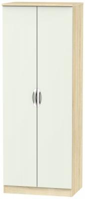 Camden 2 Door Tall Hanging Wardrobe - High Gloss Kaschmir and Bardolino