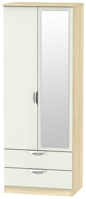 Camden 2 Door Tall Mirror Combi Wardrobe - High Gloss Kaschmir and Bardolino