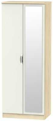 Camden 2 Door Tall Mirror Wardrobe - High Gloss Kaschmir and Bardolino