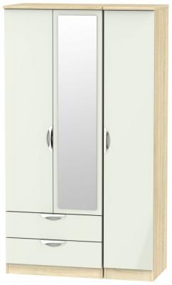 Camden 3 Door 2 Left Drawer Tall Combi Wardrobe - High Gloss Kaschmir and Bardolino