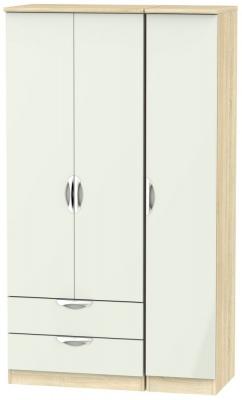 Camden 3 Door 2 Left Drawer Tall Wardrobe - High Gloss Kaschmir and Bardolino