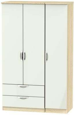 Camden 3 Door 2 Left Drawer Wardrobe - High Gloss Kaschmir and Bardolino