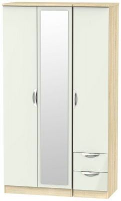 Camden 3 Door 2 Right Drawer Tall Combi Wardrobe - High Gloss Kaschmir and Bardolino